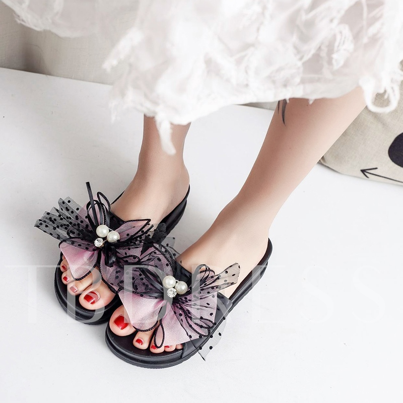 Plus Size Lace Bow Platform Women's Sweet Slippers