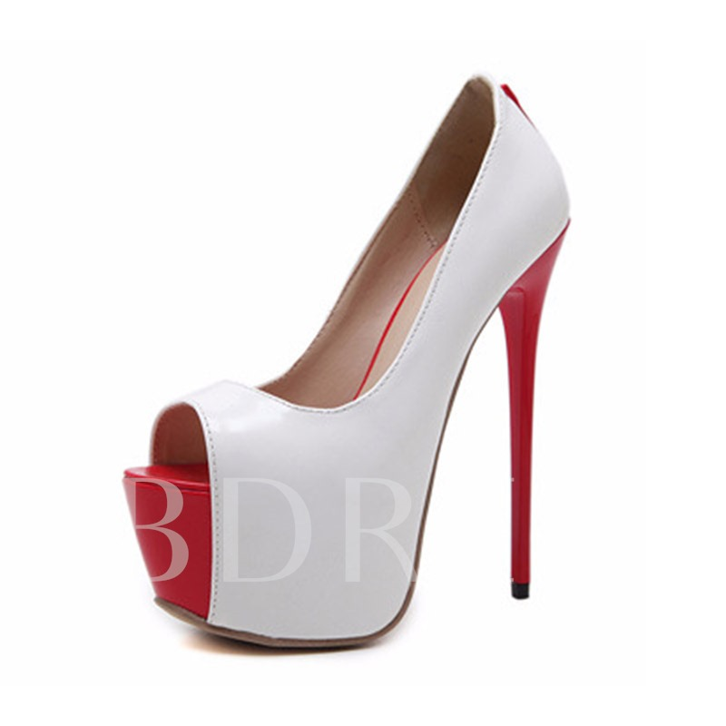 Color Block Peep Toe High With Heels for Women