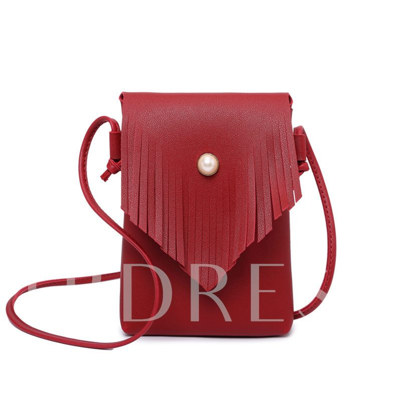 Tassel Pearl Magnetic Snap Crossbody Bag