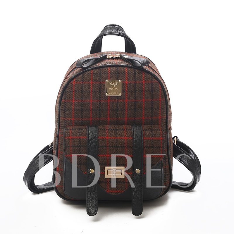 Classic Plaid Pattern Women Backpack