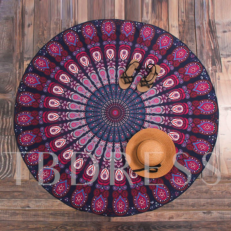 Bohemian Print Round Beach Throw