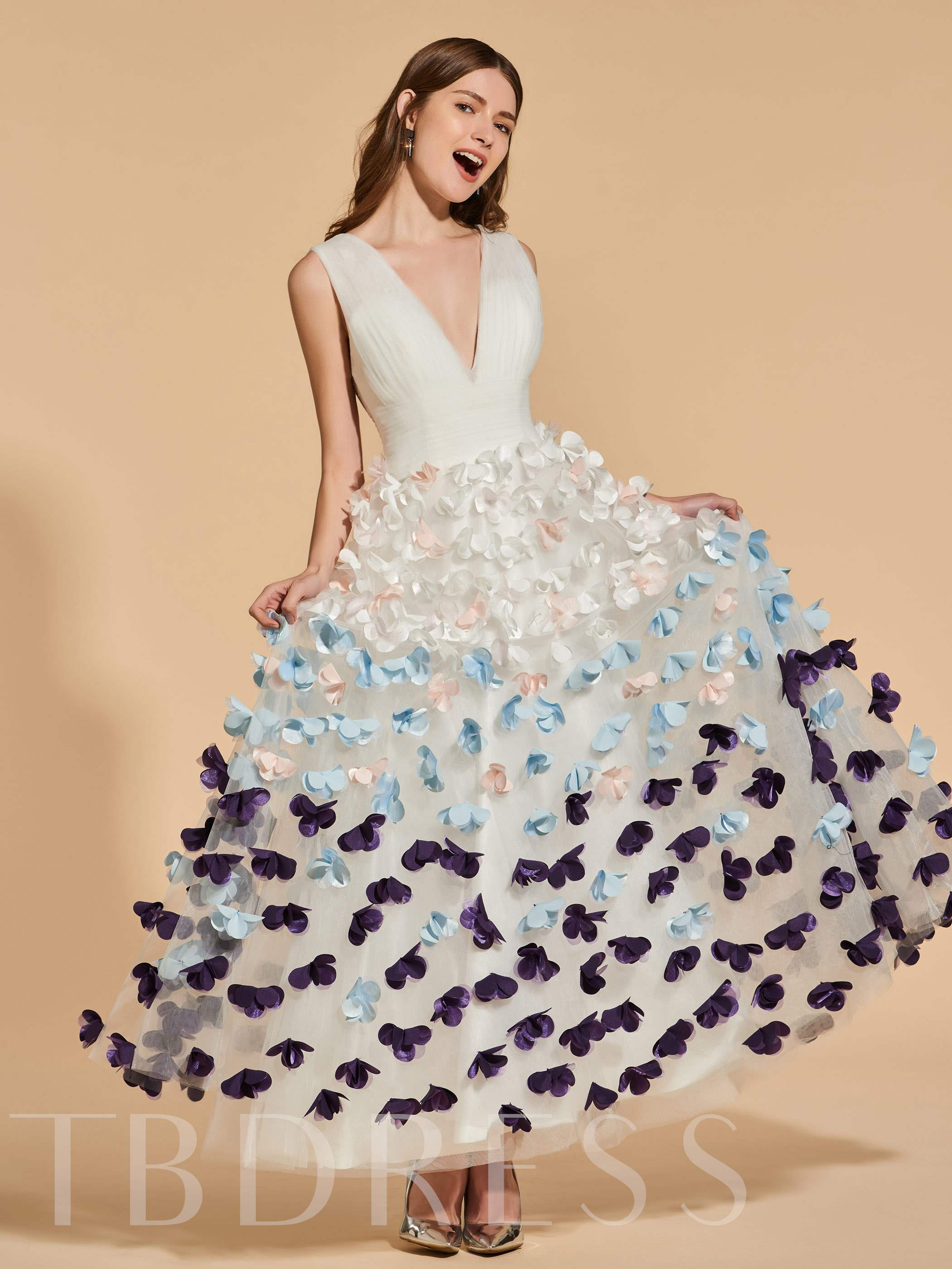 Buy A-Line Appliques V-Neck Prom Dress, Spring,Summer,Fall,Winter, 13156140 for $153.24 in TBDress store