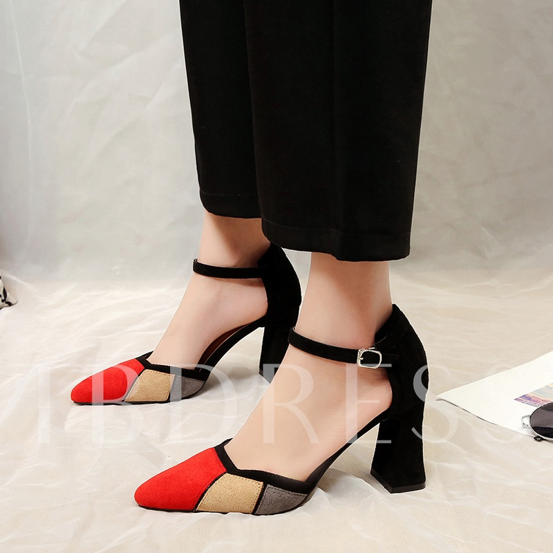 Suede Color Block Line Buckle Women's Pumps