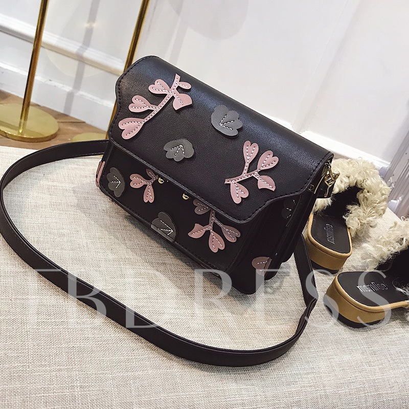 Concise Floral Pattern Crossbody Bag