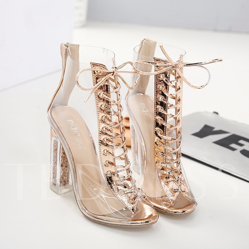 Cross Strap Zipper Chunky Heel Nude Booties for Wedding