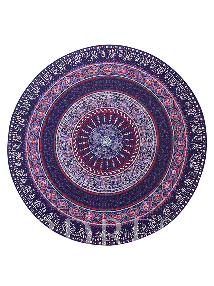 Purple Floral Round Beach Throw