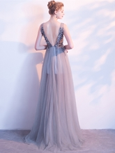 A-Line Beading Crystal Backless Evening Dress