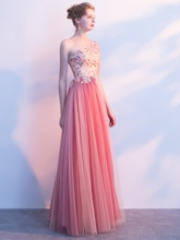A-Line One-Shoulder Pearls Flowers Prom Dress