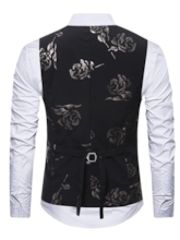 V-Neck Rose Print Slim Men's Vest