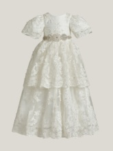 Short Sleeves Appliques Baby Girl's Christening Gown
