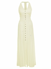 Halter Backless Single-Breasted Women's Maxi Dress