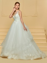 Sheer Neck Appliques Wedding Dress