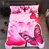 Butterfly and Pink Lotus Printed Cotton 4-Piece 3D Bedding Sets/Duvet Covers