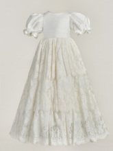 Short Sleeve Lace Long Baby Girl's Christening Gown