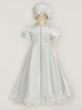 Short Sleeves Appliques Pearls Baptism Gown