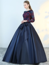Ball Gown Lace Bowknot Flowers Quinceanera Dress