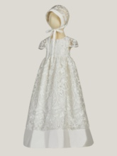 Mesh Lace Baby Girl Christening Dress with Bonnet