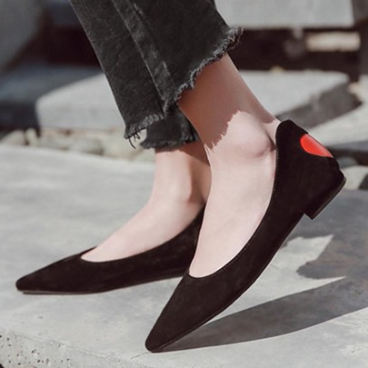 Black Suede Red Heart Women's Single Shoes