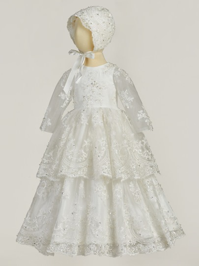 Baby Girls Beading Appliques Christening Gown with Bonnet