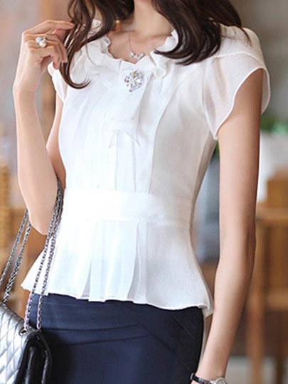 Short Sleeve Slim Fit Women's Blouse With Corsage