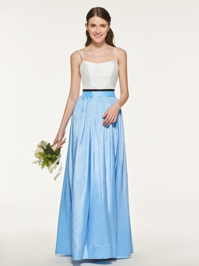 Straps Ruched Long Bridesmaid Dress