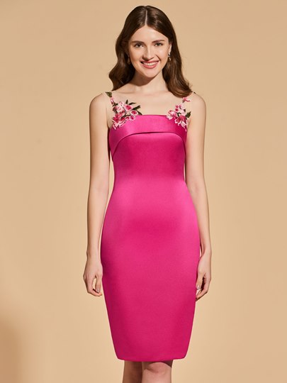 Sheath Embroidery Straps Cocktail Dress