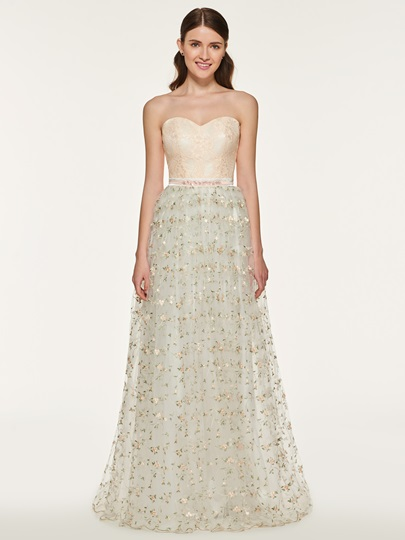 A-Line Embroidery Lace Bridesmaid Dress