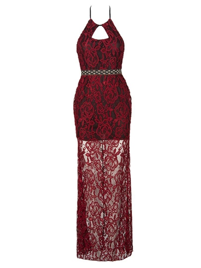 Red Halter Lace Women's Maxi Dress