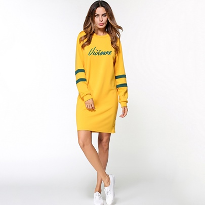 Yellow Letters Printed Women's Hooded Dress