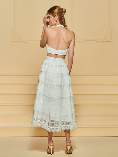 Halter Two Pieces Lace Beach Wedding Dress