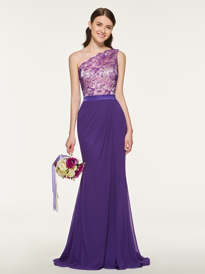 One Shoulder Lace Mermaid Bridesmaid Dress