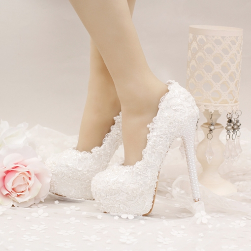 Pearls Ultra-High Heel Appliques Platform Women's Wedding Shoes