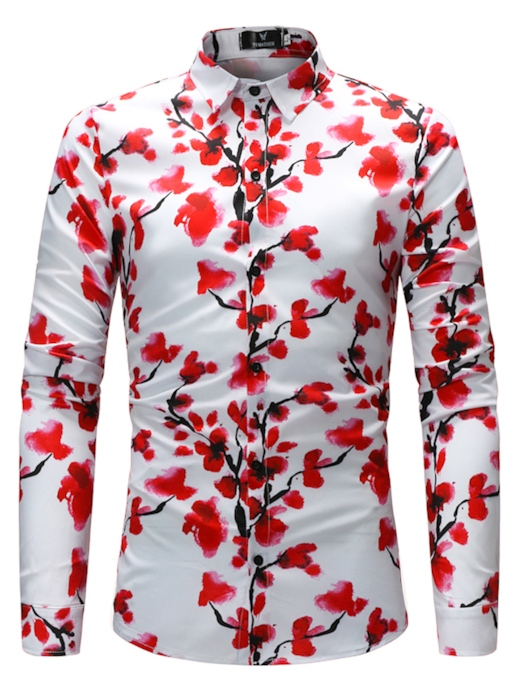 Lapel Print Color Block Spring Men's Shirt