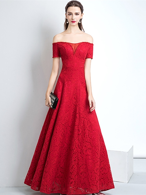 A-Line Beading Lace Long Evening Dress