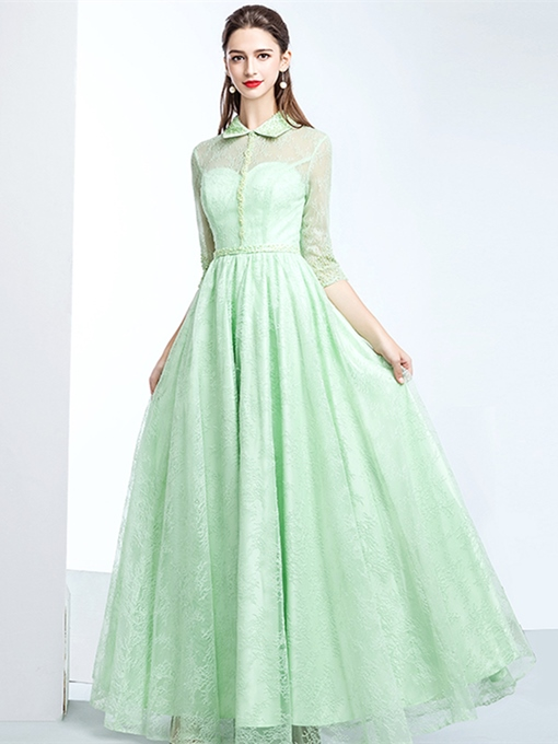 A-Line Jewel Beading Lace Evening Dress
