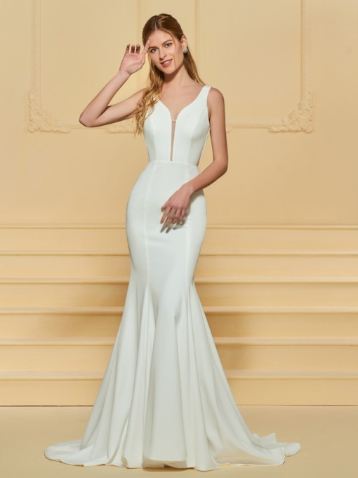 Deep V-Neck Low Back Mermaid Wedding Dress