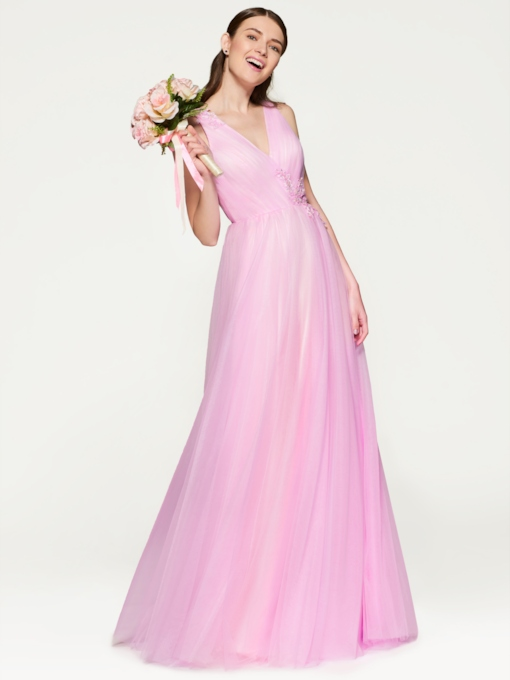 Appliques Beading Long Bridesmaid Dress