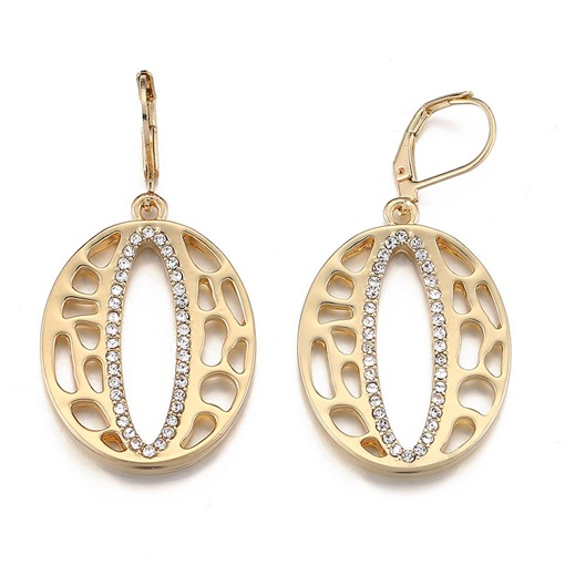 Hollow Out Diamante Oval European Earrings