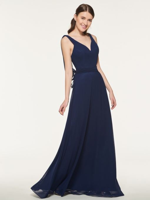 Straps Sashes Long Bridesmaid Dress
