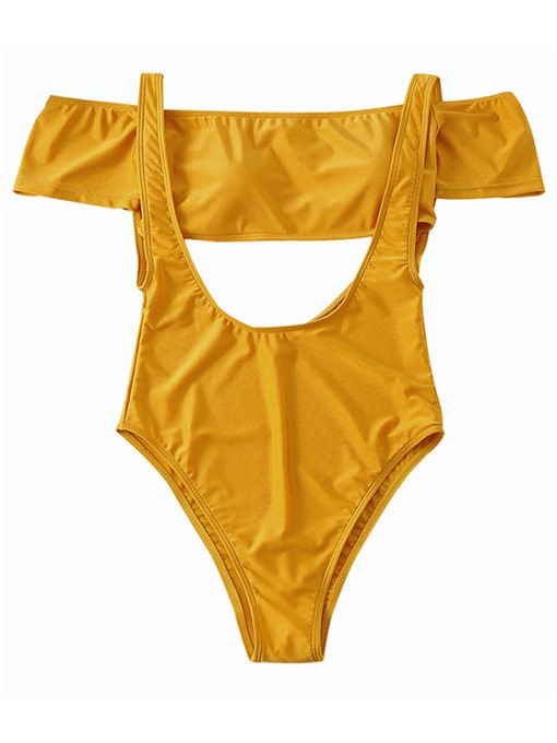 Yellow Falbala Off Shoulder Women's Monokini