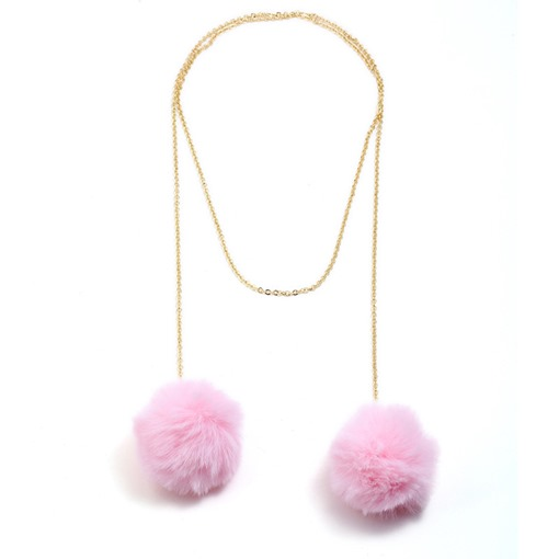Long Chain Pom Pom Sweater Chain Necklace