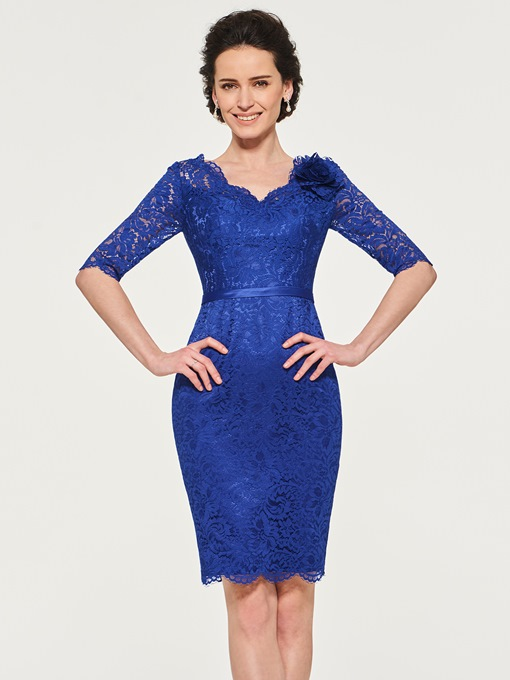 Sheath Lace Mother of the Bride Dress with Half Sleeve