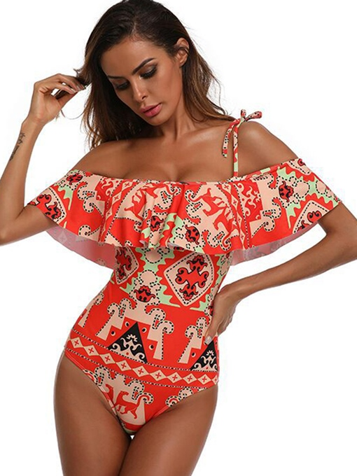 Off Shoulder Falbala Ethnic Print One Piece Swimsuit