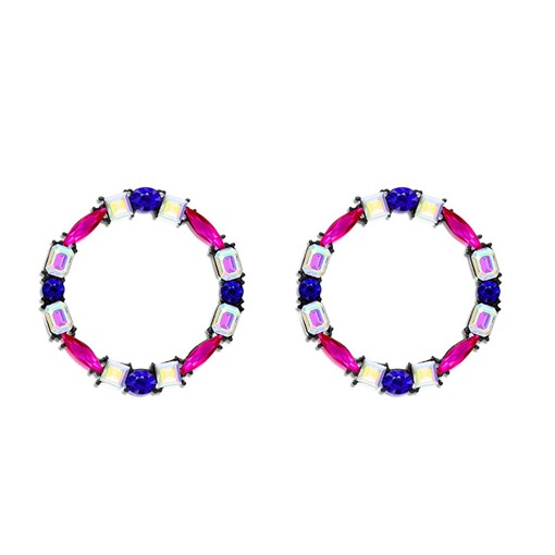 Colorful Reshin Color Block Loop Earrings