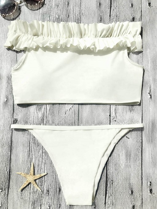 White Off Shoulder Falbala Women's Bikini Set
