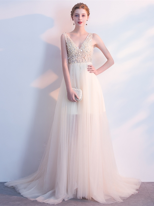 A-Line Beading Pearls V-Neck Evening Dress