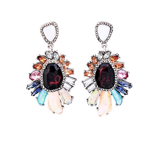 Synthetic Stones Flower Retro Earrings