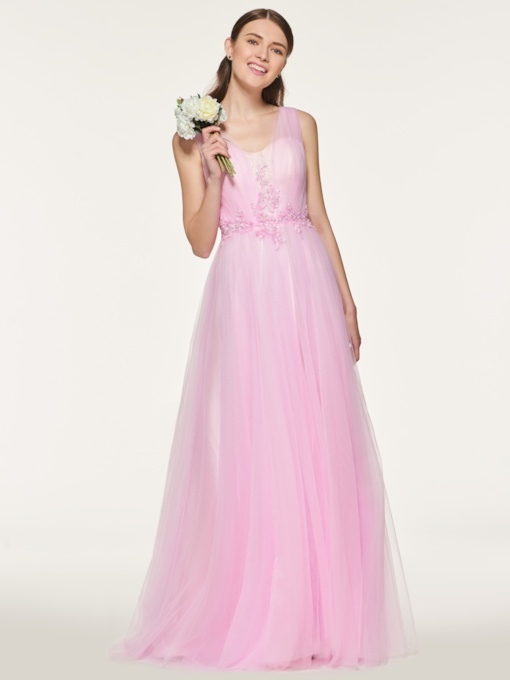 Straps Beading Appliques Bridesmaid Dress