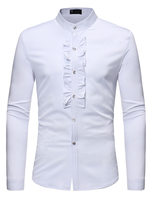 Stand Collar Lace Decorated Plain Slim Men's Shirt