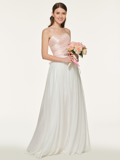 Sweetheart Rhinestone Belt Bridesmaid Dress